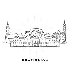 Outlined vector sketch separated on white background. Architecture drawings of all European capitals. Famous Architecture, Architecture Drawings, Doodle Quotes, Bratislava Slovakia, City Icon, Instagram Highlight Icons, Types Of Art, Art Inspo, Vector Design