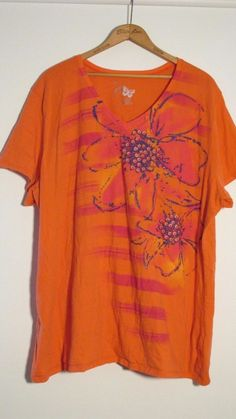 Just My Size JMS Size 4X  Multi Color Floral tee Shirt T-shirt Top Orange Pink #JustMySize #GraphicTee
