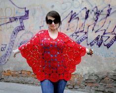 PDF crochet pattern Womens crochet poncho pattern red DIY Crochet lace tops for women Big flower crochet pattern Instant download printable
