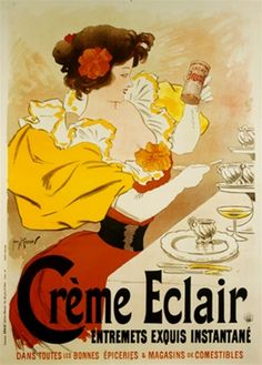 Creme Eclair by Meunier 1896 France - Vintage Poster Reproduction. This vertical french culinary / food poster features a woman with puffy yellow sleeves sitting at a table holding up to look at a can. Giclee Advertising Print. Classic Posters