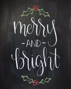 Items similar to Merry and Bright Chalkboard Christmas Print - Handlettered Calligraphy Christmas Decor on Etsy Merry and Bright Chalkboard Christmas Print by HeartcraftedCo Christmas Quotes, Christmas Signs, Christmas Art, Christmas Decorations, Christmas Sentiments, Christmas Greetings, Chalkboard Lettering, Chalkboard Designs, Chalkboard Ideas
