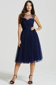 8b7301fe3f Little Mistress Navy Embellished Sheer Midi Dress - Little Mistress from  Little Mistress UK Navy Midi