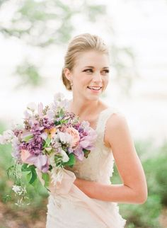 Southern-wedding-lavender-and-peach-bouquet Floral designs by: Southern Blooms