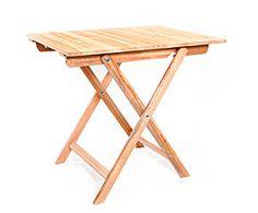 Mesa plegable de madera, rectangular – natural