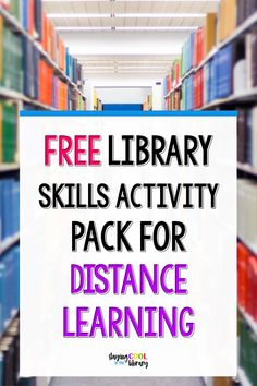 Free Library Skills Activity Pack For Distance Learning With all of the school closures going on, distance learning is important now more than ever! Here are some free library skills activities for your students. School Library Lessons, Library Lesson Plans, Elementary School Library, Library Skills, Elementary Schools, Middle School Libraries, Free Library, Online Library, Library Books