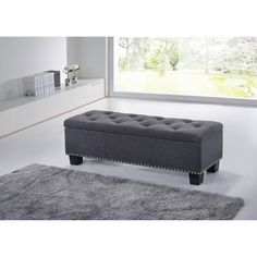 Baxton Studio Alekto Modern And Contemporary Dark Grey Fabric Upholstered  Button Tufting Storage Ottoman Bench (Bench Dark Grey), Size Medium