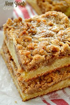 This New York Super Crumb Cake is AWESOME. Buttery, packed with cinnamon and brown sugar, moist and tender. You'll love this easy breakfast favorite!