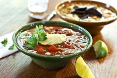 Mexican Bean Soup with Chipotle Avocado Cream and Guacamole Tip (vegan and gluten-free)