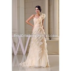 Champagne Prom Dress Asymmetrical Ruffled One Shoulder Evening Gown BCDW5031