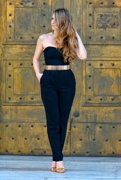 barefoot duchess: Golden Doors Zara Jumpsuit, Black Jumpsuit, Xl Fashion, Fashion Beauty, Zara Black, Barefoot, Personal Style, Style Inspiration, Belt
