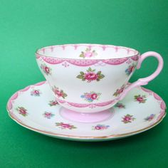 Shelley Tea Cup Saucer Henley Rosebud 13520 Pink Swag Footed England Vtg #Shelley #Footed