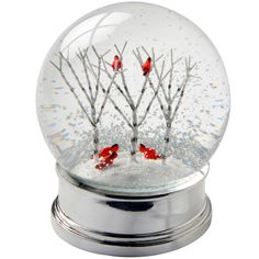 12cm Snow Globe Birch Trees Cardinal Birds Christmas Decoration