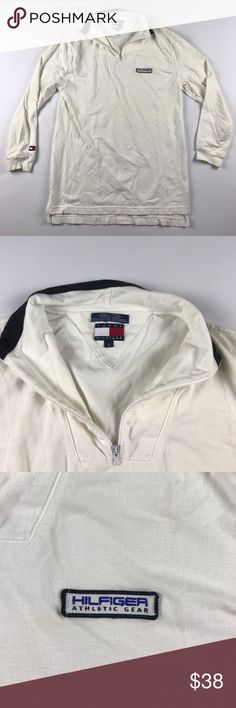 Vtg 90s Medium Tommy Hilfiger Spell Out Pullover Small blemish by the logo Tommy Hilfiger Sweaters Zip Up