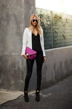 love this look - black, white, bright pink