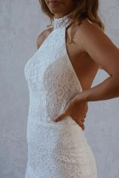 INDIGO Halter neck wedding dress by Emmy Mae Bridal. Indigo's high neckline is a showstopper. Her stunning low back demands attention and is the perfect style for the statement-making bride. Home Wedding, Bridal Dresses, Indigo, Fashion Dresses, Neckline, Bride, Halter Neck, Beautiful, Beach