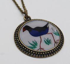 New Zealand pukeko bird pendant necklace in by NewCreatioNZ, $21.00