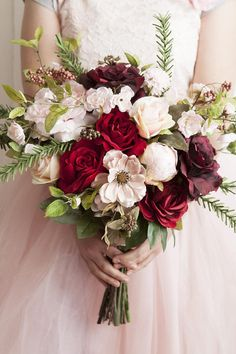Red Bouquet, Pink Bouquet, Christmas Bouquet, Red Bridal Bouquet, Red and Pink Bouquet, Faux Flowers