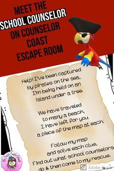 Meet the School Counselor Escape Room Counseling Activities, Group Counseling, Fun Activities, Elementary School Counselor, Elementary Schools, Guidance Lessons, Cooperative Learning, Escape Room, Get To Know Me