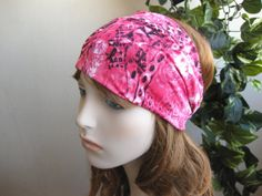 Rose Pink Patterened Turban Headband Wide by FlowerCityThreads, $10.00