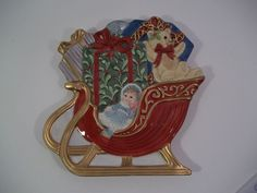 Fitz and Floyd TEDDY'S CHRISTMAS Canape Plate Wall Hanging Sleigh Doll Bear