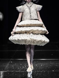 Sculptural Fashion - textured 3D tiered skirt, almost mushroom-like in its construction - creative fashion forms; wearable sculpture // Guo Pei