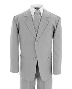 Gino Giovanni Formal Suit Set Silver for Boys From Baby to Teen Brand new boy Silver 5 piece suit set. suit set has fully lined Jacket and Vest with covered buttons. High quality garment. Perfect for Weddings, and any special occasions.BRAND NAME IS GINO GIOVANNI BUYER BE AWARE OF IMITATION PRODUCTS THAT ARE NON BRANDEDSingle Breasted Jacket w/Notch lapelFully Lined Full back VestAdjustable quality long Tie, wrap around the neckBaby Pants with elastic Waist. Toddler boys has