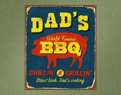 Vintage Printed Wall Sign Dads BBQ by StreamlineDesign on Etsy, $12.95