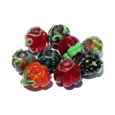 9 Handmade Lampwork Glass Pumpkin Beads orange red green black dichroic