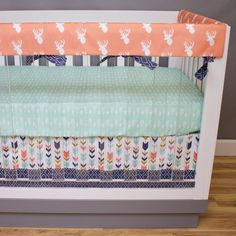 This coral crib bedding is perfect for your tribal nursery. We love the arrows featured in this deer crib bedding! Baby Girl Nursery Bedding, Baby Room, Rail Guard, Tribal Nursery, Deer Pattern, Rustic Nursery, Crib Sets, Bebe