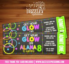 Printable Chalkboard Glow in the Dark Ticket Birthday Invitation | Neon | Blacklight | Digital File | Girls Birthday Party Idea | Teen Party | Youth Event | FREE thank you card | Party Package Available | Banner | Cupcake Toppers | Favor Tag | Food and Drink Labels | Signs |  Candy Bar Wrapper | www.dazzleexpressions.com