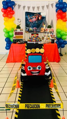 B-day Monster machine Matteo Pixar Cars Birthday, Transportation Birthday, Cars Birthday Parties, Festa Monster Truck, Monster Truck Birthday, Blaze And The Monster Machines Party, Baby Boy Birthday Themes, Festa Hot Wheels, Race Car Party