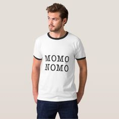 MOMO NOMO Men's White t-shirt black letters T-Shirt - black and white gifts unique special b&w style
