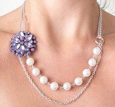 Bridal Jewelry Purple Necklace Vintage Wedding Jewelry Flower Necklace Pearl Bridal Necklace. $36.00, via Etsy.
