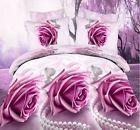3D Cotton Duvet Quilt Cover Pillow Case Bed Set Purple Rose Single Double Decor