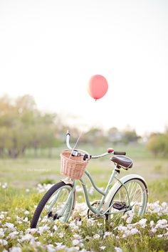 Romantic Vintage Bicycle Lakeside Flower Field Engagement Photo Session Dallas Photographer - by Ivy Weddings