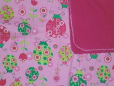Pink Ladybug Infant Receiving Blanket by StitchesByDee on Etsy, $12.00