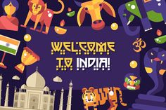 Bundle of India Travel Icons & Cards by Decorwith.me Shop on @creativemarket