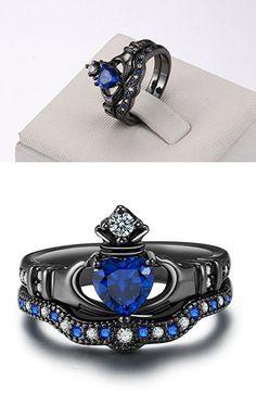 Zealmer Black Gold Plated Cubic Zirconia CZ Blue Sapphire Heart Cut Bridal Crown Irish Claddagh Ring 8