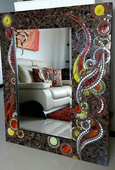 Mirror Mosaic, Mosaic Art, Mosaic Glass, Stained Glass, Glass Art, Mirror Crafts, Tiny Spaces, Mirror Work, Mosaic Designs