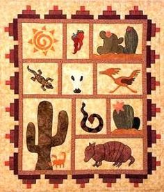 DesertScape Quilt Pattern - The Virginia Quilter ~ Cute Lap Quilt Patterns, Applique Patterns, Applique Quilts, Craft Patterns, Embroidery Applique, Knitting Patterns, Quilting Projects, Quilting Designs, Sewing Projects