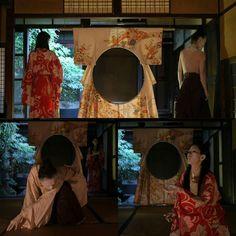 #installation 円窓 w/ #performance by 鳴海姫子金亀伊織 #ar7zwork #contemporaryart #kimono #kyoto #scenicart #tactomase