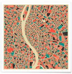 Budapest map poster #Budapest #minimal #map #city #print