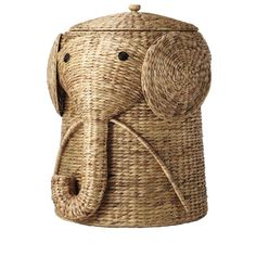 This wicker laundry basket is expertly handcrafted into the shape of a friendly elephant with a curling trunk. Lift the elephant's hat to discover plenty of space for dirty laundry. (Also available in white and brown.)