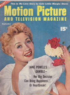 """Jane Powell on the front cover of """"Motion Picture and Television Magazine"""", USA, September 1954."""