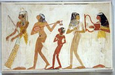 What Is The Music Of Egypt? Music is an integral part of the Egyptian culture. While Thoth was believed to have invented music itself, Hathor was regarded as patron of music. Almost every Egyptian God was propitiated by the use of music and hymns. Ancient Egyptian Paintings, Ancient Art, Ancient History, Ancient Greek, History Of Dance, Art History, Ancient Egypt For Kids, Rose Croix, Ancient Music