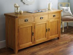 Farmhouse large oak sideboard made from sustainable American oak from Top Furniture. Oak Nightstand, Oak Dresser, Painted Sideboard, Oak Sideboard, Oak Cupboard, Green Table, Wood Drawers, Weathered Oak, Wooden Cabinets