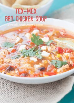 Tex Mex BBQ Chicken Soup - This Tex Mex BBQ Chicken Soup is a fun spin on your typical chicken taco or chicken tortilla soup.  It has all the Mexican flavors with a hint of smoky barbecue sauce.