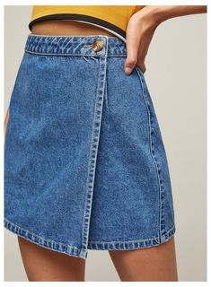 Wrap Over Denim Skirt - Carousel Image 3 – Jean Skirts – Ideas of Jean Skirts Source by - Cheap Summer Dresses, Cheap Homecoming Dresses, Diy Clothing, Sewing Clothes, Diy Clothes Jeans, Diy Jeans, Modest Clothing, Look Patches, Jean Diy