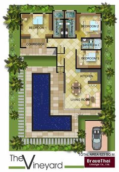 "U Shaped Courtyard House Plans | Plan TR8576MS: Old World European in """"L"""" Shape"