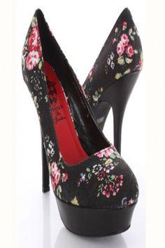 Black Fabric Faux Leather Floral Print Closed Toes Platform Pump Heels